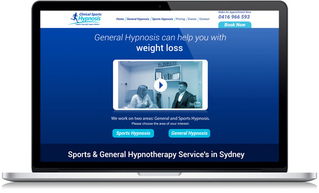 Clinical Sports Hypnosis Website Development Sydney
